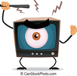 Censorship, Terror And Brainwash On TV - Illustration of a...