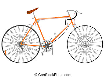 Damaged bike - Retro damaged bike on a white background