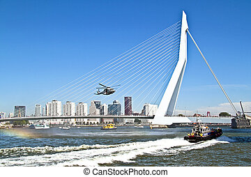 ROTTERDAM, NETHERLANDS - SEPTEMBER 09: Army helicopter is...