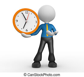Clock - 3d people - man, person with a clock. Businessman