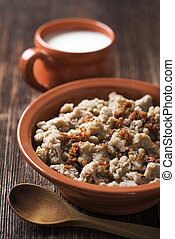 Buckwheat - Slovenian traditional buckwheat meal close up...