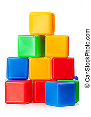 toy blocks - Plastic toy blocks on white background