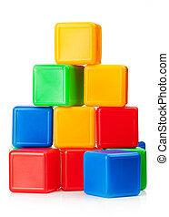toy blocks - Plastic toy blocks on white background
