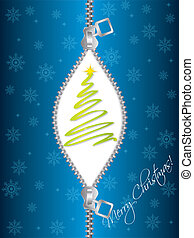 Zipped christmas greeting - Zipped blue christmas greeting...