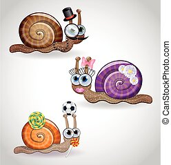 Isolated funny snails family. Illustration 10 version