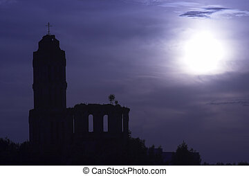 Haunted old church ruins in the night - Old church ruins in...