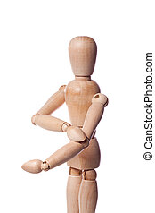 elbow pain - Wooden puppet with elbow pain