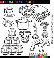 Cartoon Different Objects Coloring Page - Coloring Book...