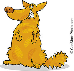 happy yellow shaggy standing dog - Cartoon Illustration of...