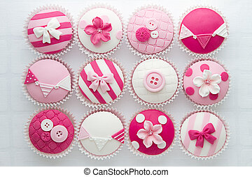 Cupcakes - Pink and white cupcakes, overhead view