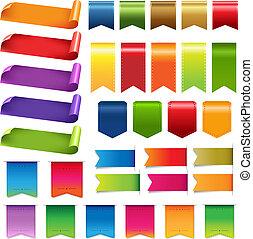Colorful Ribbons And Label Big Set