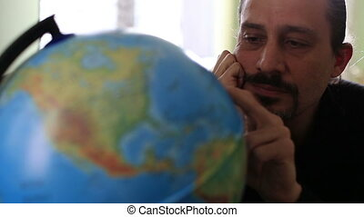 world travel - alone man dreaming world travel