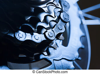 Rear bike cassette with chain macro - Rear bike cassette...
