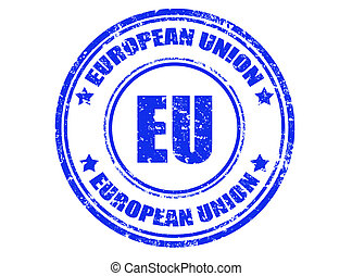EU stamp - Grunge rubber stamp with text european union...
