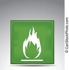 green warning symbol flame