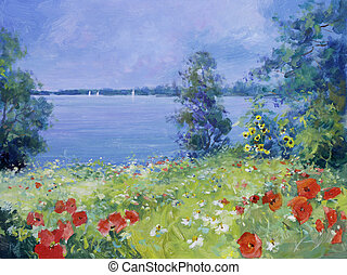 colorful flowers on a summer meadow - red poppies, white...