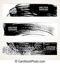 Black ink strokes banners - Abstract black and white brush...
