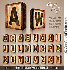 Vintage Domino Style Alphabet 3D with distressed antique...