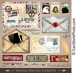 Vintage Postage Design Elements - set of various detailed...