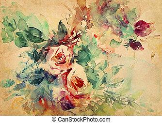 acuarela, rosas, pintado, papel