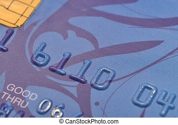 Bank card - Macro shot of old blue bank card.