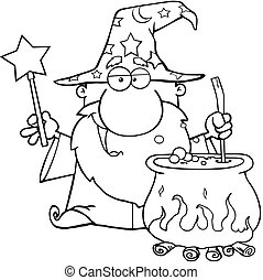 Outlined Wizard Preparing A Potion - Outlined Wizard Waving...