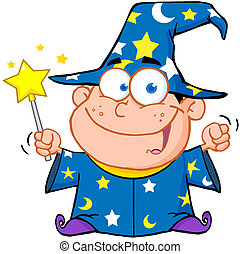 Happy Wizard Boy Waving With Magic Wand