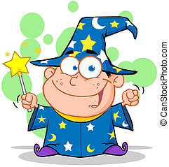 Smiling Wizard Boy Waving With Magic Wand