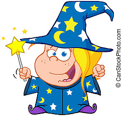 Wizard Girl Waving With Magic Wand - Happy Wizard Girl...