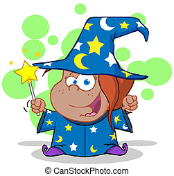 Funny African American Wizard Girl Waving With Magic Wand