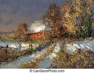winter landscape in lower saxony - created with oil paints