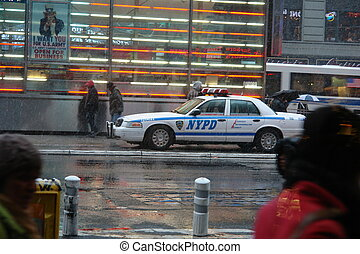 NYPD car in Times Square during day