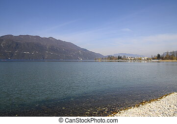 Large view of Bourget lake and aix les bains in Savoy,...