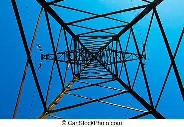 Pylon & power lines against blue sky