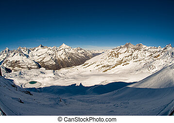 Panorama from Gornergrat - panoramic view in winter from...