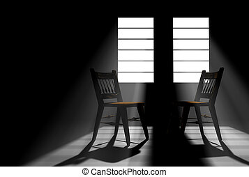 Darkened room with two windows with sunlight streaming in...