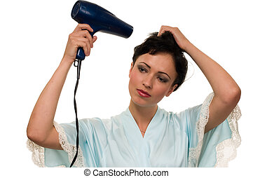 Blow drying hair - Attractive short hair brunette woman...