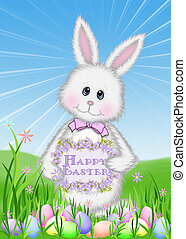 Easter bunny with colored eggs