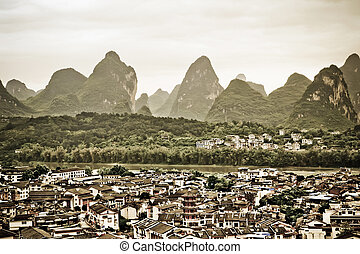 yangshuo - overlooking the yangshuo county in guilin...