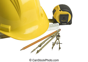 Builders - Hardcore hat, ruler, pencil, campus, isolated