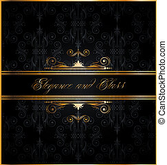 Elegant seamless wallpaper with golden decorations - Elegant...