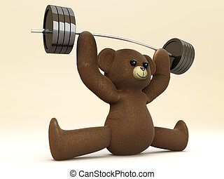 Weightlifting Teddy - A weightlifting Teddy Bear 3D rendered...