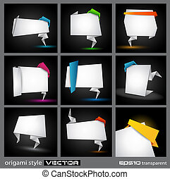 Origami style paper panel for advertising or busines product...