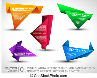 Origami triangle style speech Banner set - Origami triangle...