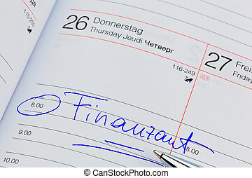 entry in the calendar: tax office - a date is entered in a...