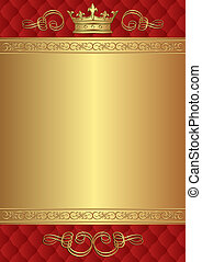 royal background - red and gold background with crown