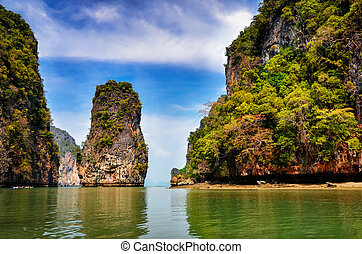 Landscape view of Phang Nga bay islands and cliffs, Thailand...