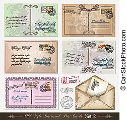 Old style distressed postcards (set 2)with a lot of post...