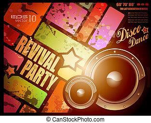 revival disco party flyer or poster - Retro revival disco...
