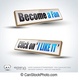Become a Fan social themed 3D Panels - Become a Fan social...